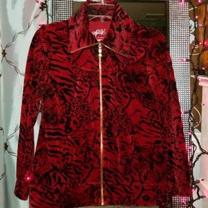 Style & Co. Red Animal Print Velour Jacket